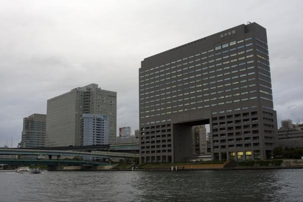 Yomiuri Building on the banks of the Sumida river | Sumida river walk | Japan