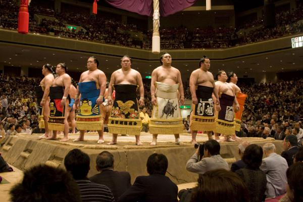 Sumo wrestlers in the elite makuuchi division presenting themselves | Sumo wrestling | Japan