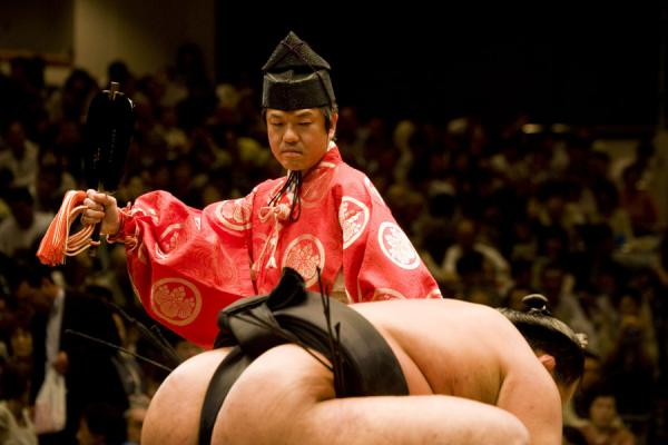 Gyoji closely watching a sumo wrestler | Sumo wrestling | Japan