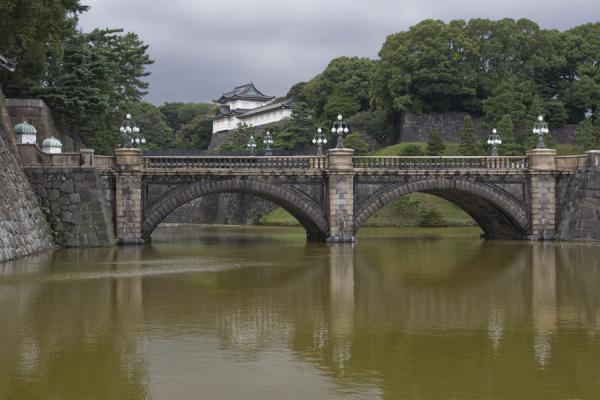 Picture of Imperial Gardens (Japan): Imperial Palace with Nijubashi Bridge and moat