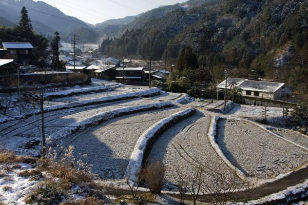 Terraces under a light layer of snow | Tsumago | Japan