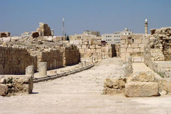 The main street of the Umayyad town | Amman citadel | Jordan