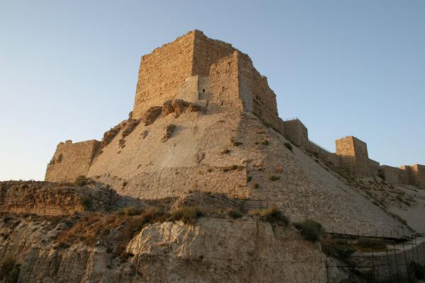 Picture of Kerak castle seen from below just before sunset