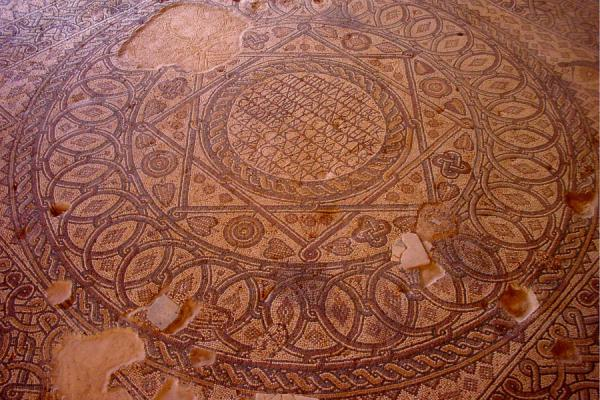 Picture of Madaba Archaeological Park (Jordan): Floor mosaic, Church of the Virgin, Madaba
