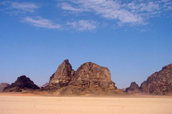 Picture of Wadi Rum: jebels jotting in a plain