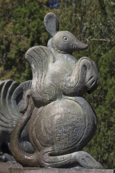 Picture of Zodiac Fountain (Kazakhstan): Statue of mouse sitting on hind legs at the zodiac fountain