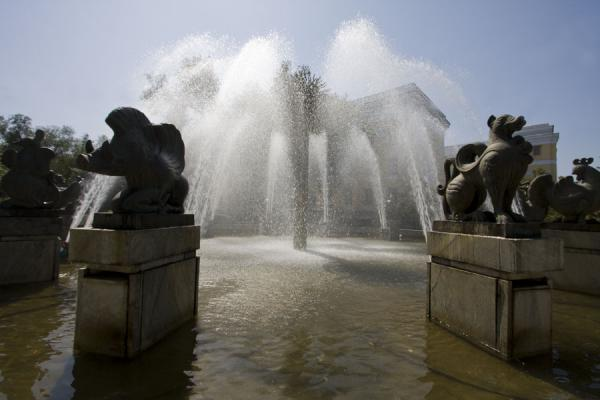 Picture of Statues of animals of the Kazakh zodiac represented around the fountain