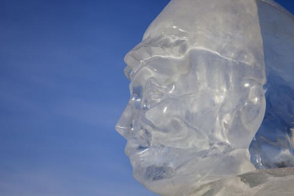 Detail of a human face carved out of ice | Astana Ice Sculptures | Kazakhstan