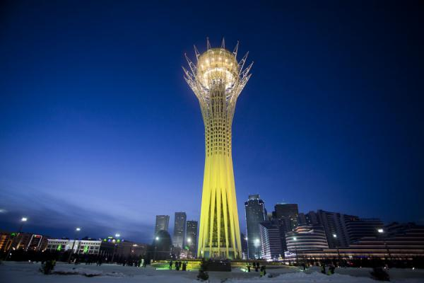 Baiterek tower with the western side of Nurzhol Boulevard in the background | Astana modern architecture | Kazakhstan
