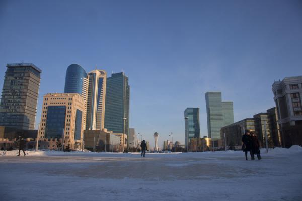 Nurzhol Boulevard on a winter afternoon | Astana modern architecture | Kazakhstan