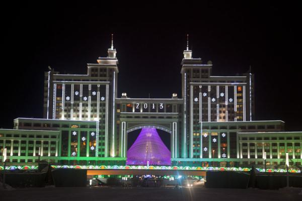 Foto van The KazMunaiGas building in the eveningAstana - Kazakhstan