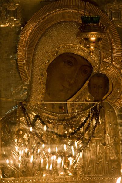 Mary and child with reflection of candles | Holy Ascension Cathedral | Kazakhstan
