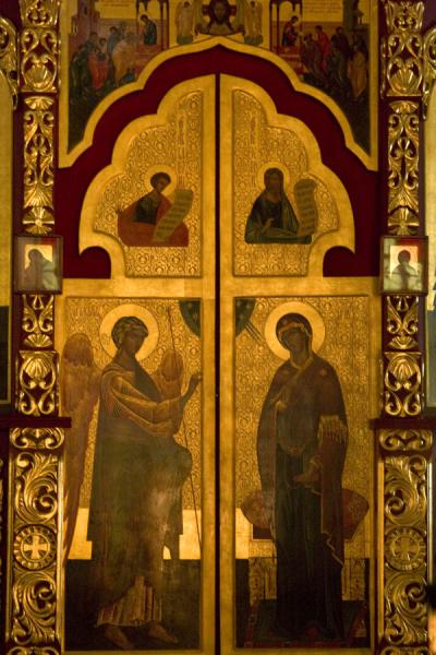 Richly decorated doors in the altar of Cathedral of the Holy Ascension | Holy Ascension Cathedral | Kazakhstan
