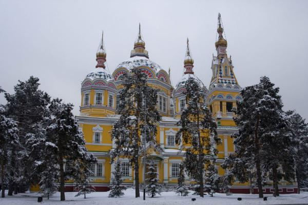 Cathedral of the Holy Ascension in snowy Panfilov Park | Holy Ascension Cathedral | Kazakhstan