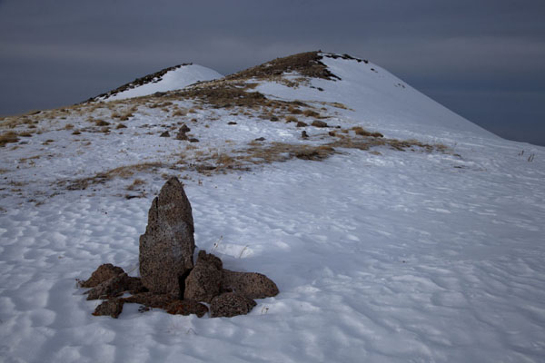 Picture of The ridge leading to Furmanovka peak with one of the stone markersFurmanovka - Kazakhstan