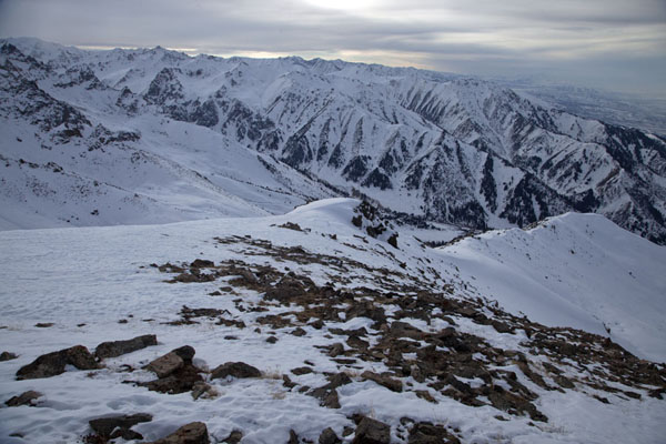 Foto van Panorama over the snowy Tian Shan mountain rangeFurmanovka - Kazakhstan