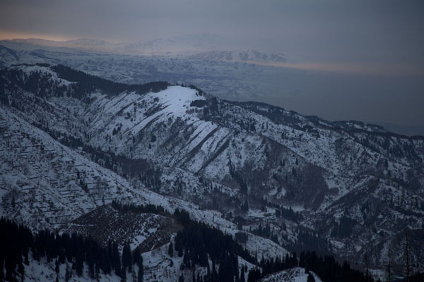Sun setting over the mountains south of Almaty | Furmanovka hiking | Kazakhstan