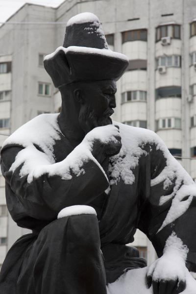 Picture of Independence Monument (Kazakhstan): Snowy sculpture: man at the Monument of Independence