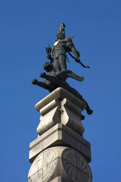 Picture of Independence Monument (Kazakhstan): Top of the Monument of Independence: Golden Man on winged snow leopard