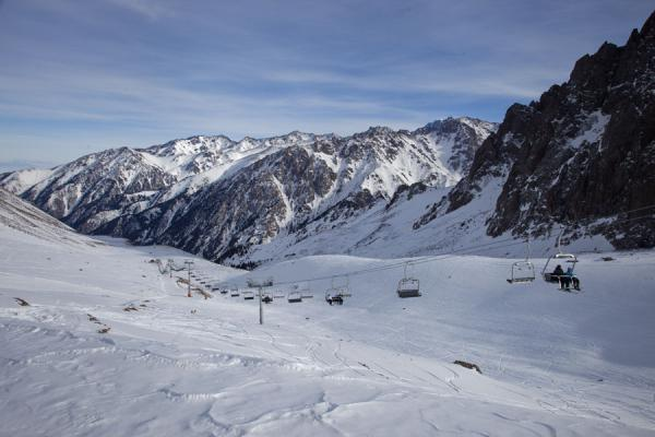 Picture of Shymbulak skiing (Kazakhstan): Small valley behind Talgar pass with snowy mountains in the background