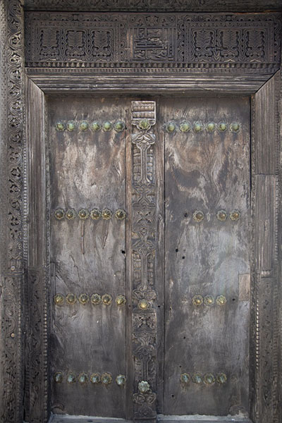 Picture of Fort Jesus (Kenya): Carved wooden Omani door in the Audience Hall