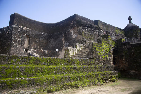 Looking up the wall of the east side of Fort Jesus | Fort Jesus | Kenya