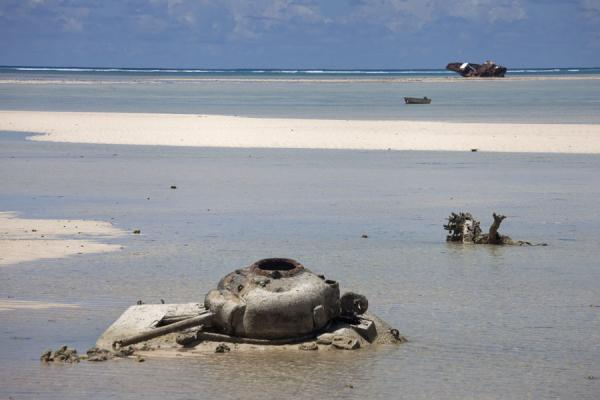 Sherman tank rusting away off Red Beach 2 at Betio | Battle of Tarawa relics | Kiribati