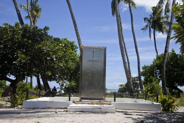 Memorial at the cemetery for the 22 killed by the Japanese | Battle of Tarawa relics | Kiribati