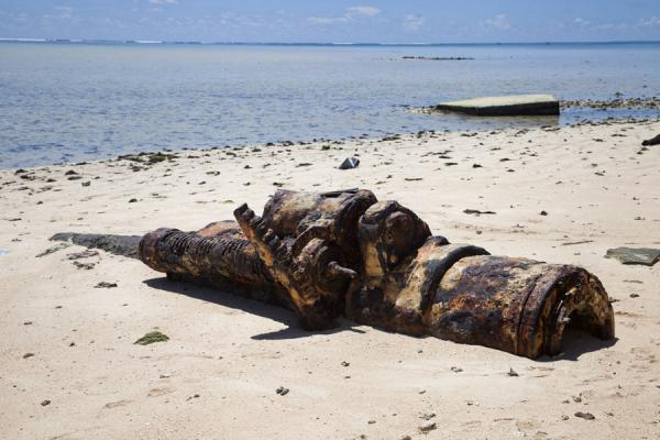 Rusting cannon on the beach of Betio | Battle of Tarawa relics | Kiribati
