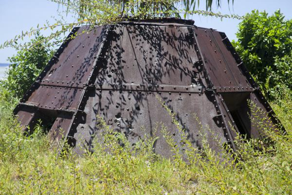 Rusting remains of a military installation in Betio | Battle of Tarawa relics | Kiribati