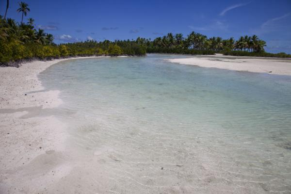 Foto van Channel between the Pacific and lagoon at low tideNoord Tarawa - Kiribati