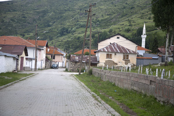 Street in Brod with one of the mosques on the right | Brod | Kosovo