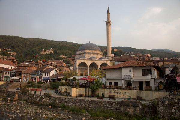 Picture of Minaret of Sinan Pasha mosque towering above the traditional houses of Prizren