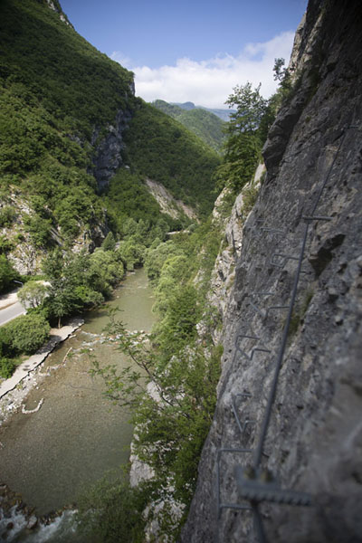 View of Rugova canyon with Peć Bistrica river below, from a via ferrata | Rugova canyon |