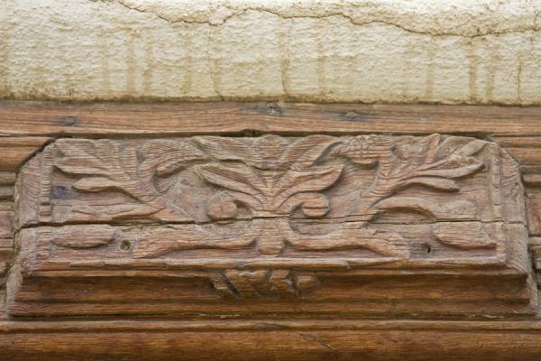 Picture of Detail of decorations in wooden door frame in Beit Khalid