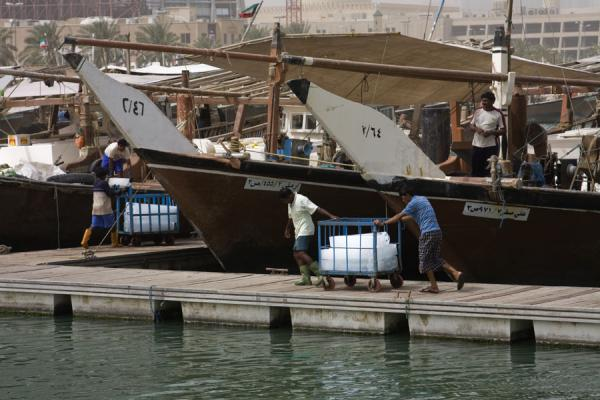 Pushing a cart with ice towards one of the fishing-boats | Mercado de Peces Kuwait | Kuwait