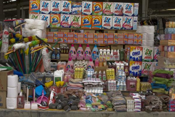 Detergent and soaps for sale in the household section of the Friday Suq | Kuwait Friday Suq | Koeweit