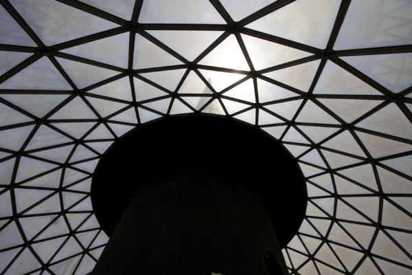 Looking up the roof of the globe in which the observation deck is located | Torres de Kuwait | Kuwait