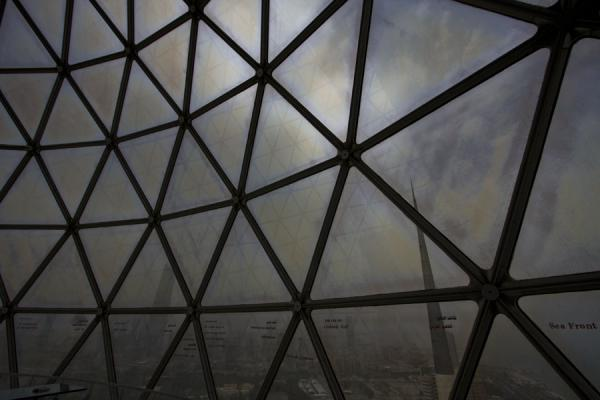 Skyline of Kuwait seen through the glass of the observation deck of the Kuwait Towers |  | 科威特