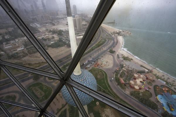 Looking down at the city from the observation globe | Torres de Kuwait | Kuwait
