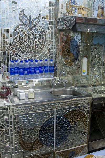 Part of the kitchen, also covered in mirrors | House of Mirrors | Kuwait