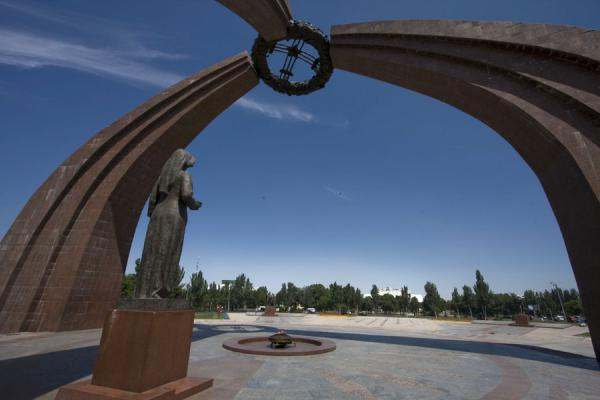 Victory Monument with statue and eternal flame, and part of the square | Victory Monument | Kyrgyzstan