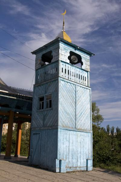 Blue wooden minaret of the mosque of Karakol | Karakol mosque | Kyrgyzstan
