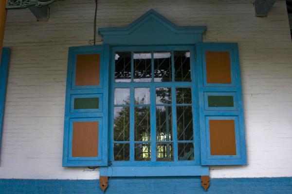 Colourful window of the mosque of Karakol | Karakol mosque | Kyrgyzstan