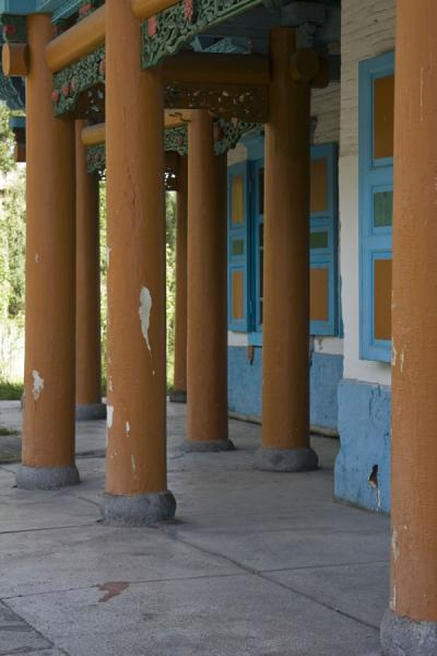 Wooden columns around the mosque of Karakol | Karakol mosque | Kyrgyzstan