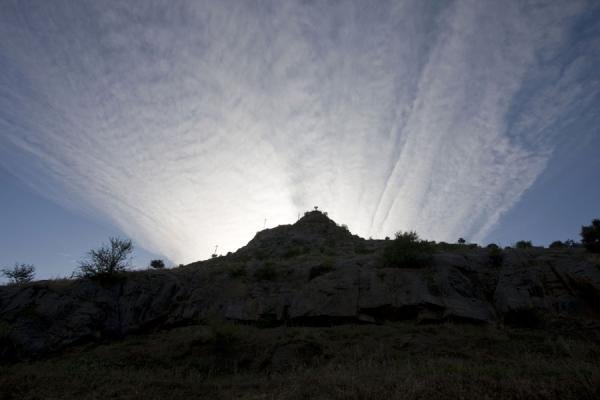 Picture of Solomon Throne (Kyrgyzstan): Clouds over Solomon Throne in the evening