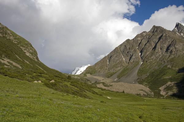 Green slopes and grey mountains in Ak-Suu valley | Palatka Glacier | Kyrgyzstan