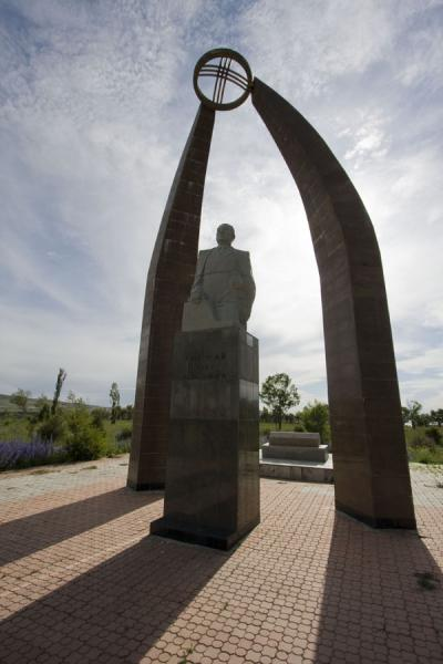 Picture of Przewalski monument (Kyrgyzstan): Arch over statue in the park of Przewalski
