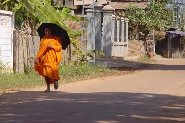 Picture of Monk walking street of Vientiane