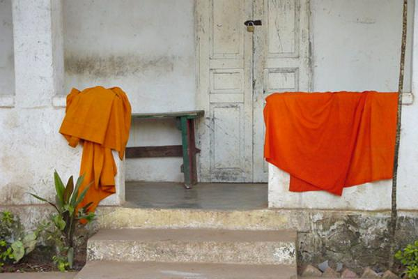 Drying monk clothes | Laos Buddhist Monks | Laos